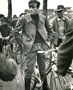"""Montgomery Clift rides a bike. For the last time (in his final film, """"The Defector,"""" 1966)."""