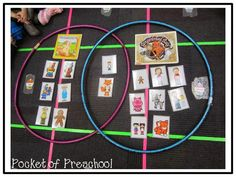 a Venn diagram using hula hoops, character cards, and the gingerbread books to compare the characters in the books The Gingerbread Man and The Gingerbread Baby