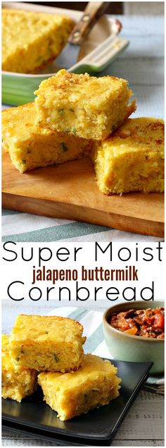Super Moist Jalapeno Buttermilk Cornbread You'd almost swear there was pudding in this Super Moist Cornbread recipe. Using creamed corn and Munster cheese is one of the secrets to this homemade buttermilk cornbread recipe. Our family favorite. Moist Cornbread, Mexican Cornbread, Buttermilk Cornbread, Homemade Buttermilk, Cornbread Recipes, Homemade Cornbread, Mexican Dishes, Mexican Food Recipes, Kitchens
