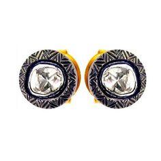 Rose Cut Diamond Stud Earrings Sterling Silver Vintage Look 14k Gold Jewelry BY #Handmade