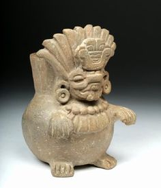 Zapotec Seated God Figural Pottery Urn