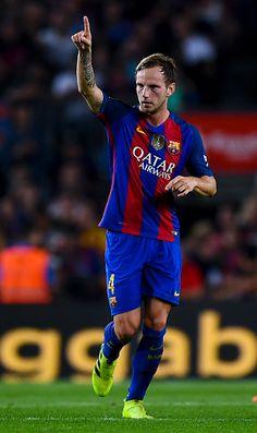 Ivan Rakitic of FC Barcelona celebrates after scoring his team's first goal…