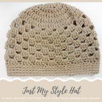 Crochet Beanie Design Just My Style Hat Pattern. A Free Crochet Pattern in 10 Sizes from Oombawka Design - Just My Style Hat - A Free Pattern in 10 Sizes Crochet Adult Hat, Easy Crochet Hat, Bonnet Crochet, Crochet Beanie Pattern, Crochet Cap, Crochet Baby Hats, Crochet Patterns, Double Crochet, Crocheted Hats