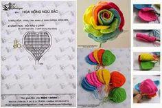 Horgolt mintagyűjtemény: Színes rózsa horgolva
