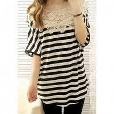 Fashion Crochet Neck Half Sleeves Womens Cotton Blend Stripe T-Shirt