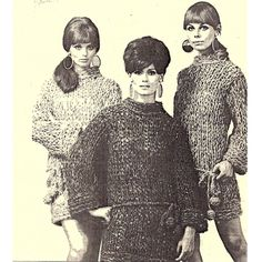 Evelyn so enjoyed knitting this long sweater dress (with ping pong ties) that she made one for her two best friends as well.  They look splendid.