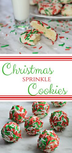 Christmas Sprinkle Cookies are a delicious, melt in your mouth holiday cookie that everyone will love! The coating of sprinkles gives it a nice crunchy outside that is perfectly sweet. #ChristmasCookies #CookieSwap #CookieRecipes