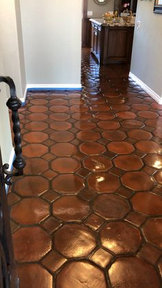 , The client hate the orange tones in these Tecate terracotta tiles so we custom stained them to a better match the home decor. What do you guys think o. , Who else wants dark brown custom stained terracotta tile floors? Spanish Style Decor, Spanish Style Homes, Spanish House, Spanish Style Kitchens, Spanish Kitchen, Spanish Design, Terracotta Floor, Kitchen Flooring, Tile Flooring