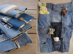 Photo show of recycled reused jeans Denim Ideas, Old Jeans, Sewing Hacks, Denim Shorts, Pants, Reuse, Hobbies, Decorating, Link