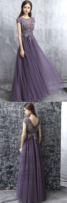 Fashion Grey Round Neck A-Line Tulle Long Prom Evening Dress by DRESS, $185.49 USD#2018PromDresses#PromDresses#LongPromDresses#PartyDress#EveningDress2018#dress#dresses#CheapPromDress#GraduationDress
