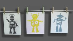 Just fell in love with this idea. I am so doing this in V's room but with his video game characters instead of robots.