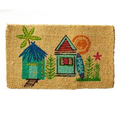 Spend a summer by the sea, no matter where you are with our summer Beach Huts welcome mat. | The Company Store