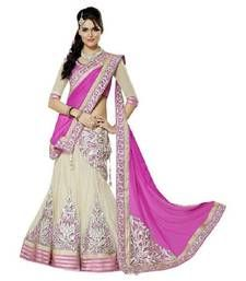 Buy Cream embroidered georgette unstitched lehenga choli lehenga-choli online