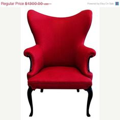 $1235 Red Wing Back Chair #gothic #glam #decor