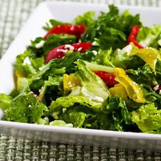 This Peperoncini Chopped Salad with Romaine, Red Bell Pepper, and Feta is a big favorite of several people in my family.   [from Kalyn's Kitchen] #SouthBeachDiet #Meatless  #GlutenFree  #LowCarb