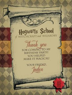 Harry Potter Thank You Tags