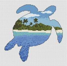 Cross stitch pattern of the silhouette of a turtle filled with a view of a desert island beach, blue sea and sky.  • Stitch count: 104 wide x 102 high • Approximate size on 14 count aida: 7.4in wide x 7.3in high (18.9cm wide x 18.5cm high) • 13 colours, DMC numbers given • Uses full cross stitches and backstitch; no fractional stitches • Stitch on fabric of your colour choice (image is shown on white fabric)  You will receive two PDF instant download patterns: • Chart in colour symbols, with…