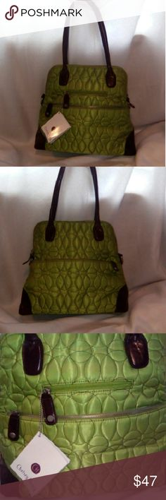 Chelsey Henry bag Green quilted fabric with walnut leather trim and handle 6pockets inside 2outside front and 1 outside back also comes w/ a shoulder strap...bag has never been used... Bags Totes