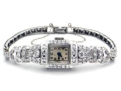 Art Deco Platinum 3ct Diamond Hamilton Manual Bracelet Wrist Watch 17Jewels 778 by AntiqueJewelryLine on Etsy