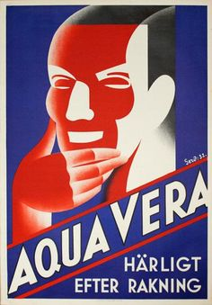 Aqua Vera - After Shave Great vintage poster from 1930s. Would look great matted and framed.