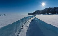 In ice crack