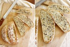 crusty no-knead bread with toasted grains
