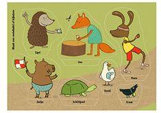 Knipplaat bij het prentenboek de Wedstrijd van Schildpad en Haas van Rianne Visser