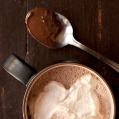Nutella Hot Chocolate with Hazelnut Liqueur Recipe Beverages with milk, Nutella, hazelnut liqueur, whipped cream