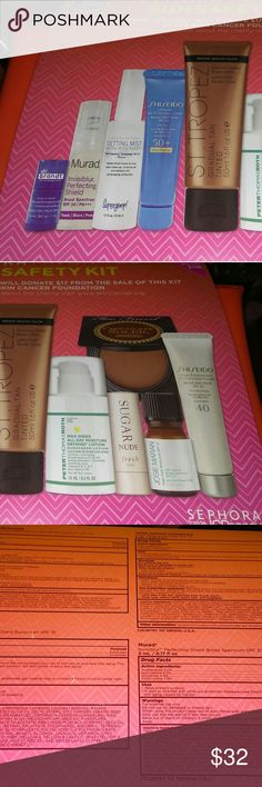 BNIB LE Sephora Favorites Sun Safety Kit 2017 Brand new, never used or swatched Limited Edition Sephora Favorites 'Sun Safety Kit' Collection from Spring 2017 Sephora inside JcPenney Collection ! Brands included: Too Faced, Murad, Supergoop, Dr. Brandt, St. Tropez, Shiseido, Fresh, Josie Maran, and bag. Comes with receipt!   Please contact me with questions. No trades! No returns! I do bundle items as well. Happy Shopping!!  #sephora #sephorafavorites #sunsafety #toofaced #murad #josiemaran…