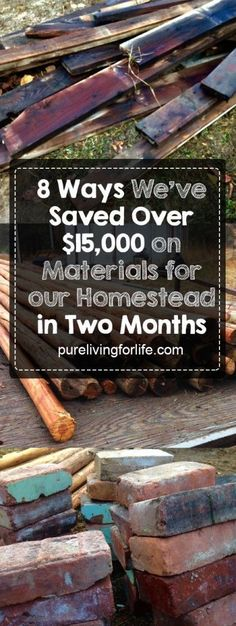 There are so many ways to find building materials at low costs or even for free... running down to Home Depot is NOT the only option!