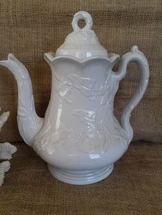 "1860's hard to find Elsmore and Forster ironstone large coffee pot in the pattern called Halleck or Morning Glory, no registry marks which is typical for this pattern, very good condition, 11"" tall, $125"
