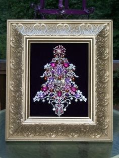 Vintage Pink Purple Rhinestone Jewelry Christmas Tree Framed Art By Tami R Dean