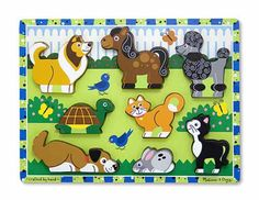 Pets Chunky Puzzle - Melissa and Doug.  We have this one at home.  Love it because the animals all stand up outside of the puzzle, as do all Melissa and Doug chunky puzzles.