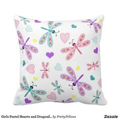 Girls Pastel Hearts and Dragonfly Accent Pillow