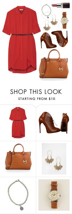 """Red dust"" by marijime on Polyvore featuring moda, Halston Heritage, Gucci, MICHAEL Michael Kors, ASOS, Tiffany & Co., J.Crew, Laura Mercier, WorkWear y Spring"