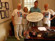 Jim Marshall from Sandwich, Kent visits Dave Schrader, Wendy King and Town Clerk Taylor White in Sandwich MA!
