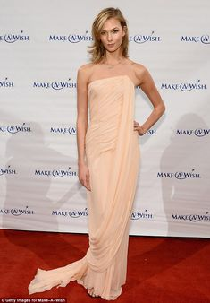 Karlie Kloss was a picture of elegance in a peach chiffon gown at the Make-A-Wish Gala in New York City http://dailym.ai/1l8wftD