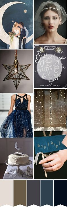 I Love You to the Moon and Back - Starry Night Wedding Inspiration - One Fab Day... Loving this moon theme too!