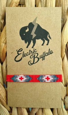 Red White and Blue Skinny Beaded Bracelet by ShopElectricBuffalo on Etsy Loom Bracelet Patterns, Bead Loom Bracelets, Bead Loom Patterns, Beading Patterns, Native American Design, Native American Beading, Nativity Crafts, Jewelry Making Tutorials, Blue Beads