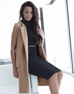 Michelle Keegan sleeveless camel coat