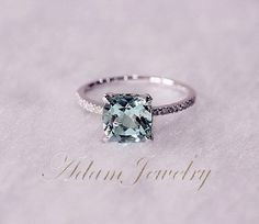 8mm Cushion Cut VS Aquamarine Ring Micro Pave H/SI Diamond Engagement Ring 14K White Gold Wedding Ring/ Promise Ring/ Anniversary Ring on Etsy, $420.00