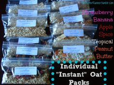 Individual instant oat packs via @NutButterRunnerGreat for traveling! better than instant oatmeal at hotels