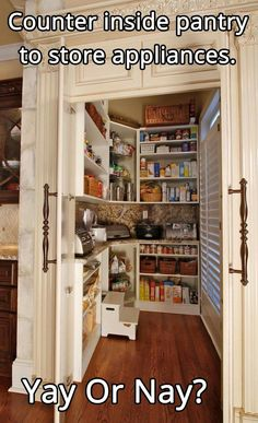 counter inside your walk in pantry to hold larger appliances