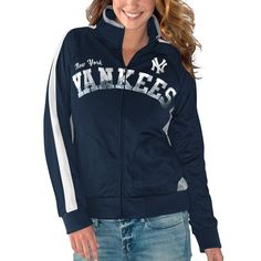 New York Yankees G-III 4Her by Carl Banks Women's Breaking Ball Full-Zip Track Jacket - Navy