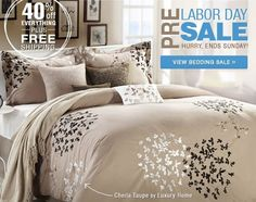 Pre Labor Day Sale going on now at http://www.bedding.com