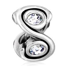 Charms Beads - birthstone charms charm bead clear crystal spiral spacer european beads Image.