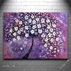 Tree In Purple Malorcka Oil Painting Abstract Cherry Tree Blossoms Art Canvas Wall Art Ronaldo Posters & 66 best Purple Wall Art images on Pinterest | Canvases Abstract art ...