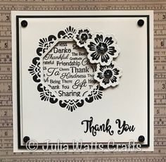 Thank You Sentiment Cloud Sue Wilson Dies, Easy Crafts To Make, Card Making Inspiration, I Card, Thank You Cards, Christmas Cards, Projects To Try, Greeting Cards, Stamp