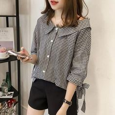 Buy EFO Gingham Tie-Sleeve Blouse at YesStyle.com! Quality products at remarkable prices. FREE Worldwide Shipping available!