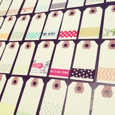 Make gift, luggage, or key tags. | 56 Adorable Ways To Decorate With Washi Tape